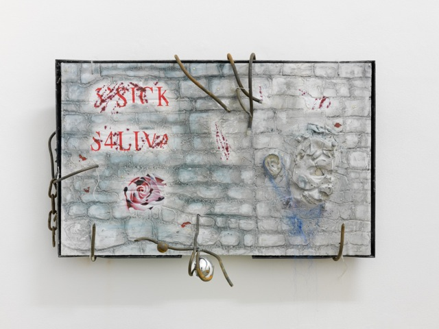 David Douard Sick Saliva,   2013 Plasma screen,   plaster,   metal,   paper,   synthetic hair,   wire; 100 x 60 x 6 cm Courtesy of the artist and Valentin,   Paris Photos: Alessandro Zambianchi