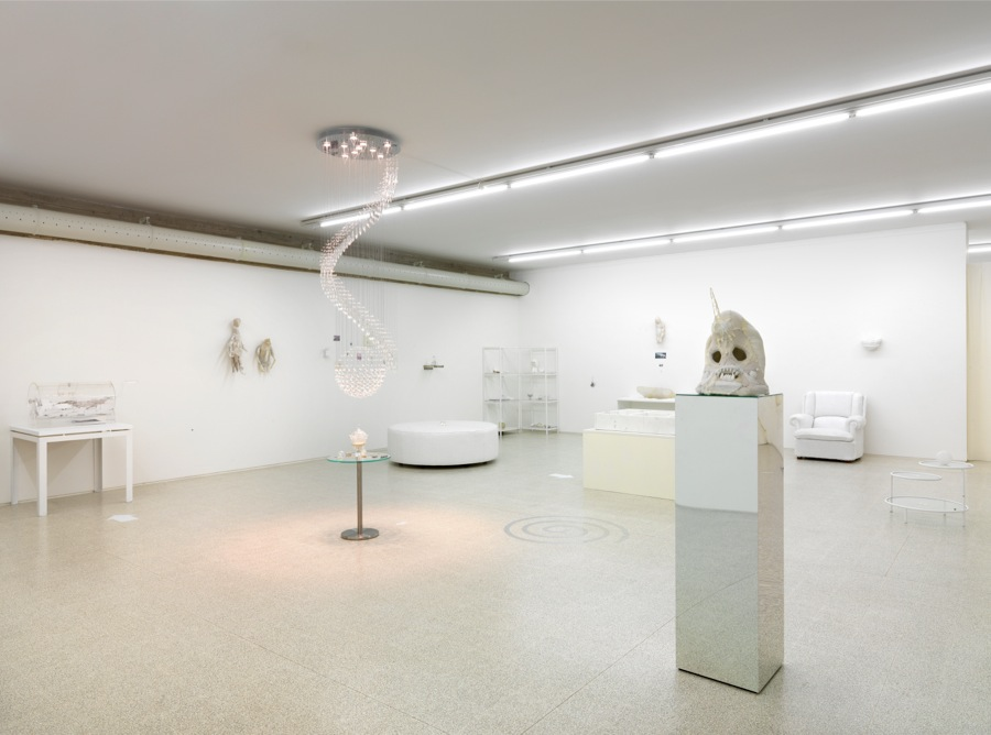 Evgeny Antuniev,   'Twelve,   wood,   dolphin,   knife,   bowl,   mask,   crystal,   bones and marble – fusion. Exploring materials',   Exhibition view,   Collezione Maramotti Ph. C. Dario Lasagni