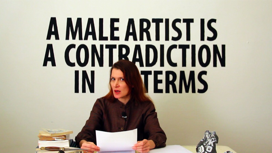 Chiara Fumai reads Valerie Solanas. videoperformance and installation. Chiara Fumai 2013. courtesy of the artist and A Palazzo gallery