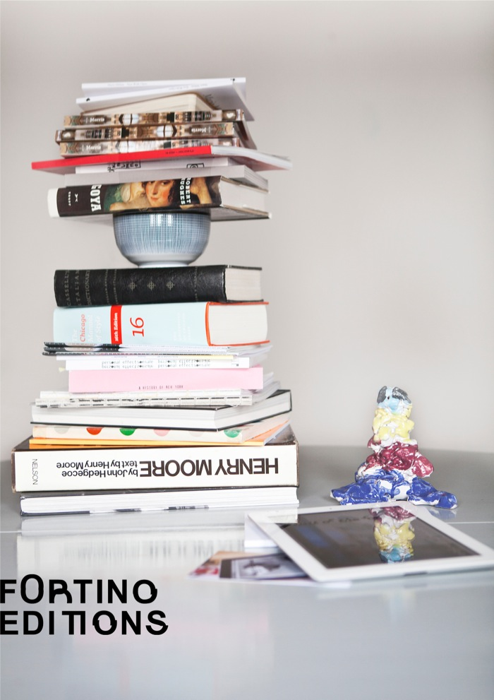 Fortino Editions piles of books in the trailer redaction on the lake photo credit: Ivan Muselli