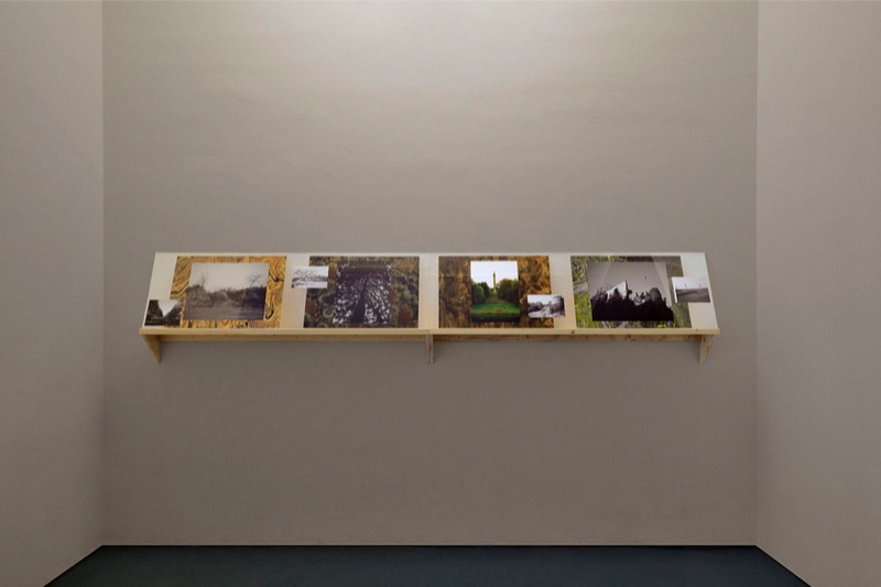 Tris Vonna-Michell,   Prelude: Ulterior Vistas,   2013,   wooden shelf,   b/w ink-jet prints,   colour prints / mensola in legno,   stampe b/n a getto d'inchiostro,   stampe a colori - Courtesy T293,   Napoli - Roma