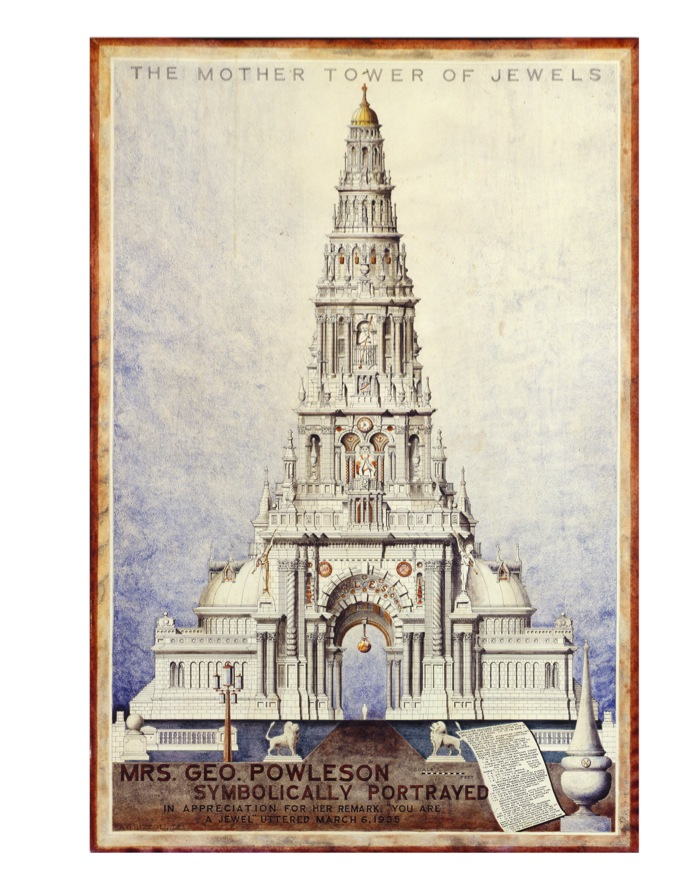 A. G. Rizzoli  Mrs. Geo. Powleson Symbolically Portrayed / The Mother Tower of Jewels,   1935  Ink on rag paper 94 x 64 cm Courtesy of The Ames Gallery,   Berkeley,   CA,   USA