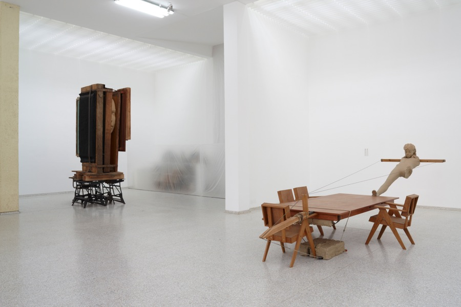 Installation Mark Manders,   Room with Broken Sentence,   Dutch pavilion,   Venice 2013 From l. to r: Working Table (2012-2013); Closet (1989-2013); Mind Study (2010-2011) Photo: Jan Kempenaers