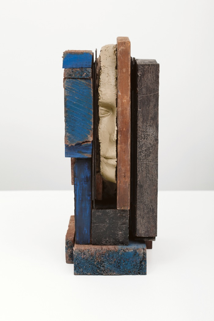 Mark Manders,   Composition with Blue,   2013 Wood,   painted wood,   painted epoxy 33,  5 x 13,  5 x 23 cm Courtesy Zeno X Gallery,   Antwerp and Tanya Bonakdar Galler,   New York Photo: Cedric Verhelst
