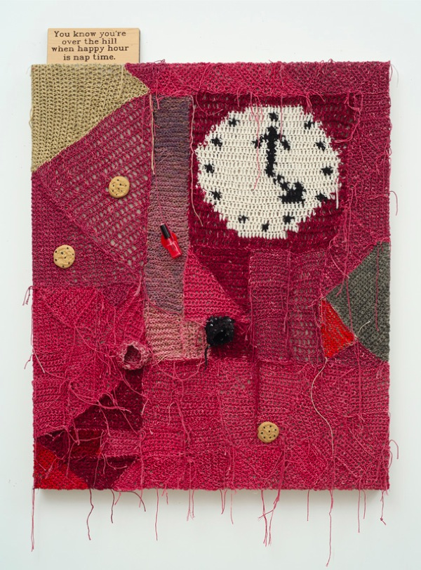 Josh Faught Nail Polish and Cookies,   2013. Hand dyed,   crocheted hemp,   wool,   cochineal (made from ground up bugs),   paint,   lavender,   wood burned signed,   sequins,   spilled nail polish,   and rubber chocolate chip cookies on linen. Courtesy of the artist and Lisa Cooley,   New York