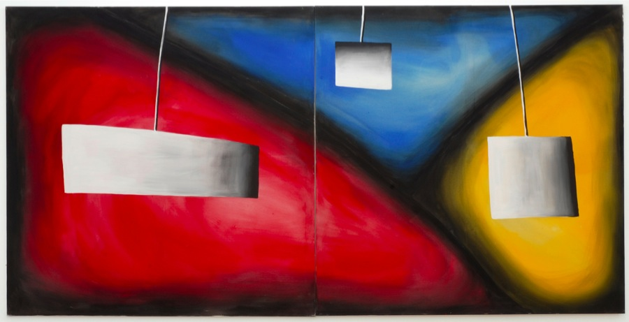 Andreas Schulze Ohne Titel,   1986 Acrylic on untreated cotton 200 x 400 cm (2-teilig) Courtesy the artist and Sprüth Magers,   Berlin/ London