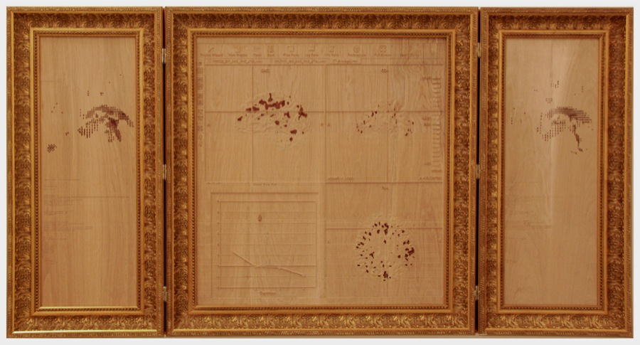 Amy Cheung Imagine Hero (det.),   2013 Incisione su legno,   sangue,   cornice dorata; cm 80x160. Video documentazione,   9'09'' Engraved wood,   gold leaves,   blood; cm 80x160. Video documentation,   9'09'' Photo: Valentina Fiore Courtesy Z2O Galleria | Sara Zanin