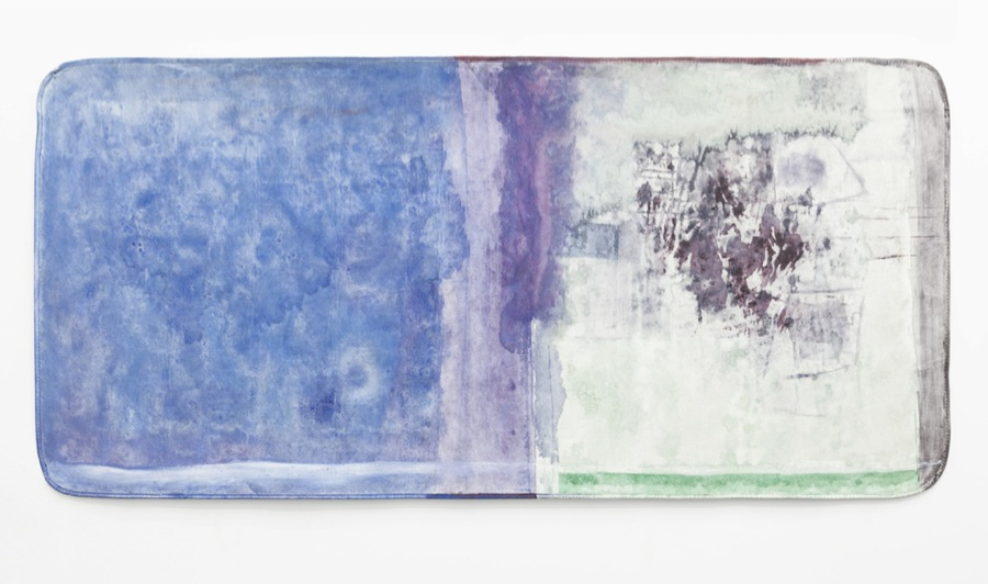 Henrik Olai Kaarstein, And You Know All 5, 2013, acrylic paint, iridescent medium, acrylic glue and silicone on mattress pad : pittura acrilica, materiale iridescente, colla acrilica e silicone su coprimaterasso, 95 x 200 cm T293