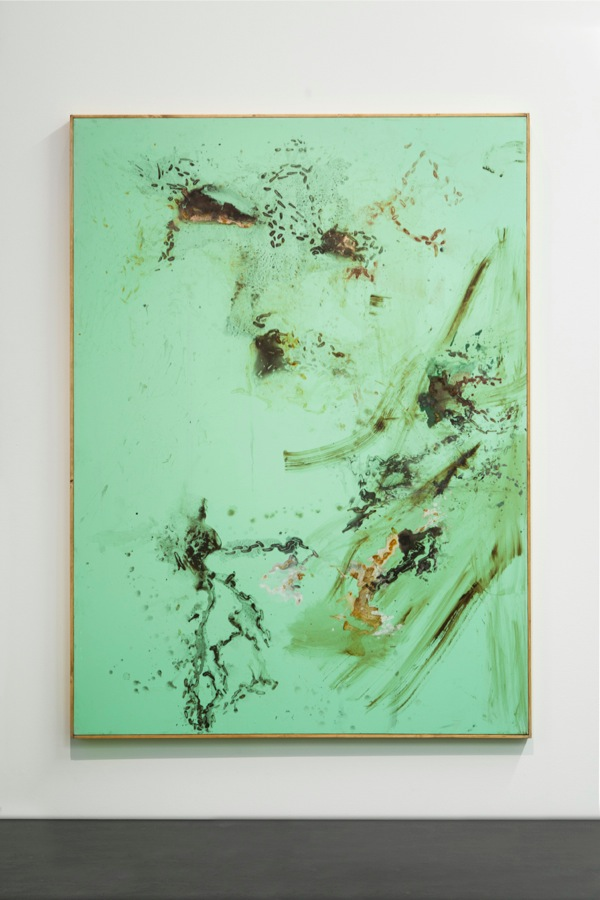 Tiziano Martini,   Untitled,   2014,   acrylic and oil paint,   acrylic enamel,   rust,   dirt and sediments on cotton,   wooden frame,   cm 192x152,   Courtesy OTTO ZOO foto Andrea Rossetti