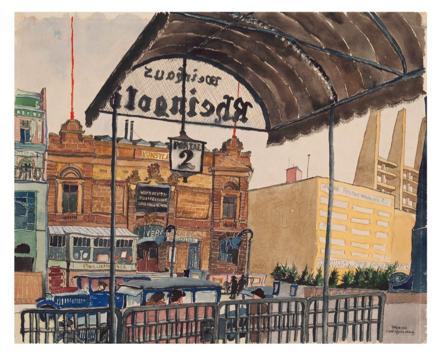 Carl Grossberg,   Berlin,   Rheingold,   1928 Acquarello su carta 40 x 50 cm,   Courtesy Galleria Milano,   Milano