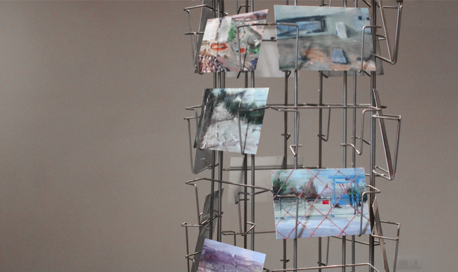 Pietro Manzo Souvenir II,   2010-2011  exhibitor with 39 paintings,   oil on aluminum 10x15 and 15x10 cm (each),   part - Courtesy FuoriCampo,   Siena,   PH Francesco De Angelis
