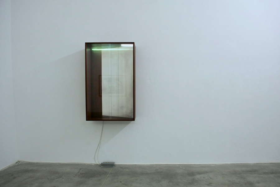 Laurent Montaron,   How can one hide fron that which never sets?,   2014 Wood,   glass,   neon light,   silver nitrate,   sodium hydroxide,   glucose,   ammonia,   nitric acid,   distilled water 80,  2 x 127 x 34,  6 cm Installation view at Monitor,   Rome Photo credit: Massimo Valicchia Courtesy: the artist and Monitor,   Rome
