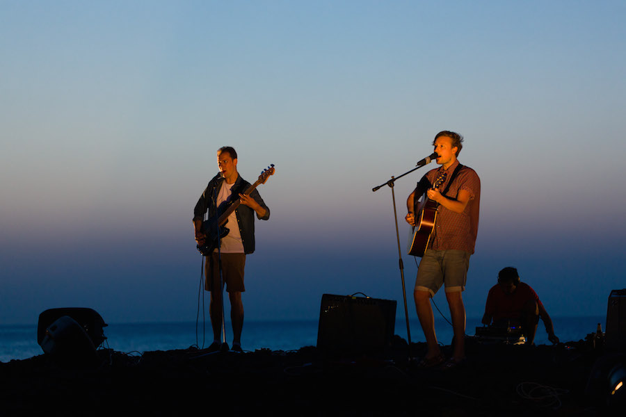 Live acoustic set by Django Django Courtesy Fiorucci Art Trust Photography Lewis Ronald