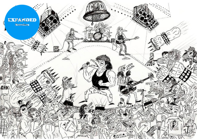 AC/DC Live 2014,                                                                                                                                         ink on paper, 55 x 65 cm / 21.6 x 25.5 inches, Photo Credit: Oak Taylor-Smith