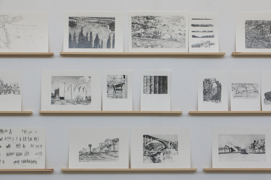 Ino Varvariti Expédition scientifique de Morée 1829-2014,   2014  Pencil on paper,   wooden strips Dimension variable Courtesy: the artist