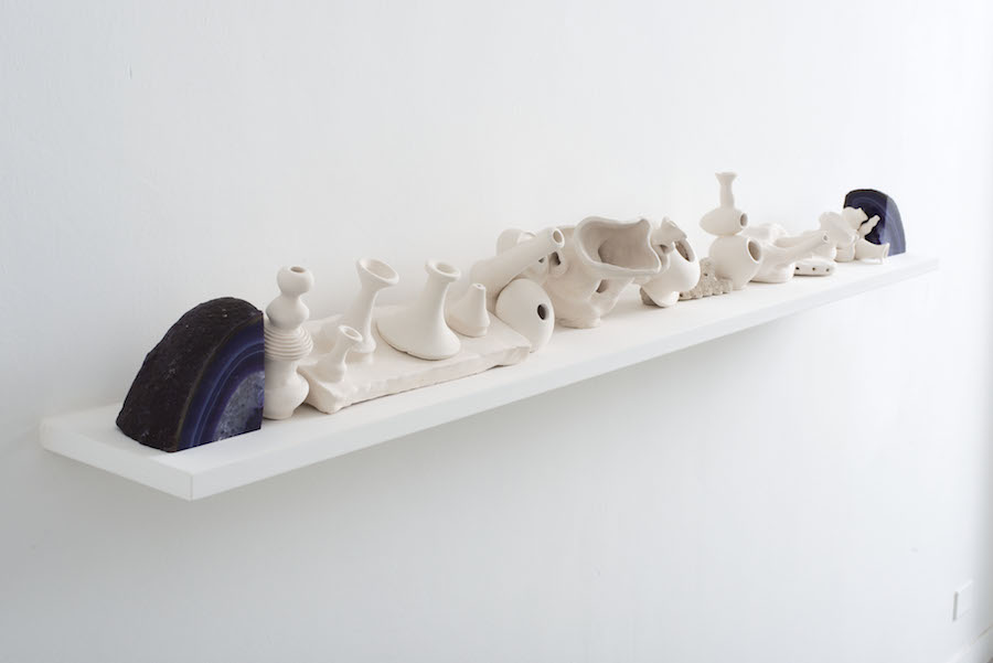 Luana Perilli,   Unglazed Shelf,   2014,   agate gemstones,   ceramics,   cm 20 x 180 x 20,   photo by Giorgio Benni,   courtesy The Gallery Apart,   Rome