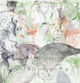 Cecily Brown – Untitled, 2012 Monotype in watercolor and pencil on Lanaquarelle paper 127 x 121.9 cm Signed: signed Cecily Brown, 2012 in graphite verso Courtesy the Artist and Two Palms, New York Image: © Cecily Brown. Courtesy Two Palms Press, NY