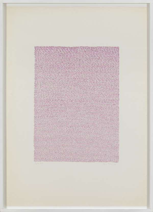 Irma Blank,   Eigenschriften,   Pagina M-2,   1970,   pastel on paper,   cm.70x49,  5 Courtesy P420,   Bologna