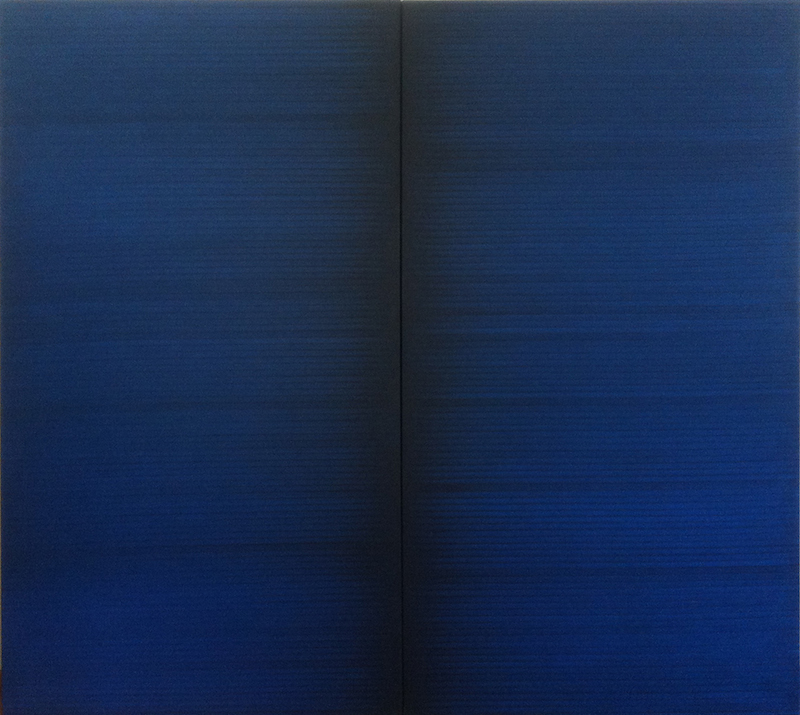 I.Blank,   Radical Writings,   Schriftzug=Atemzug 19-8-88,   1988,   olio su tela/oil on canvas,   dittico/dyptich,   cm.180x100 each (cm.180x200 overall),   Courtesy P420,   Bologna