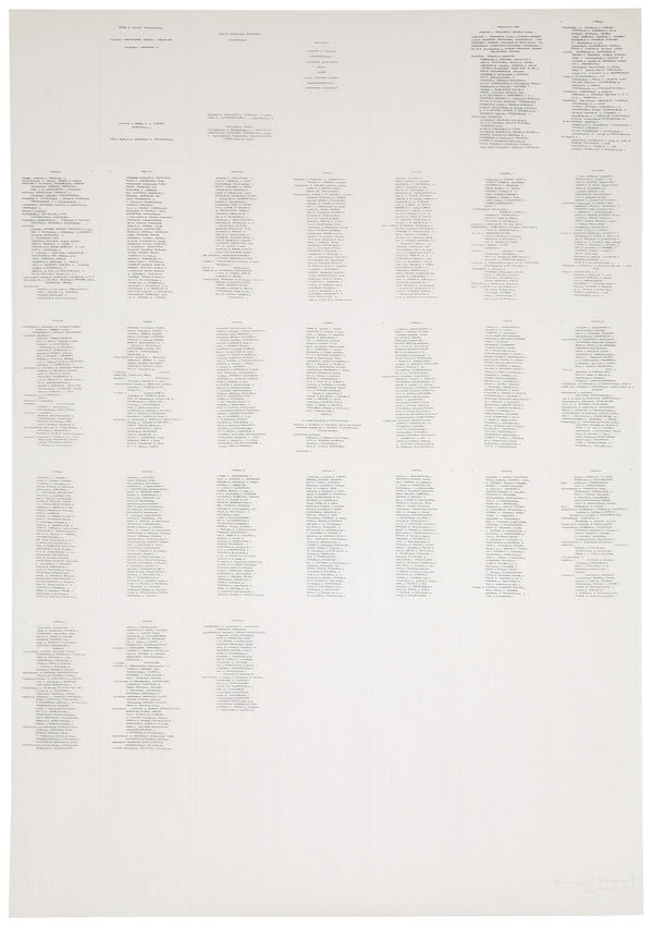 Irma Blank,   Trascrizioni,   Hommage a? Grillparzer II,   1975,   indian ink on parchment like paper folded in 42 pages,   cm.90x63,   Courtesy P420,   Bologna