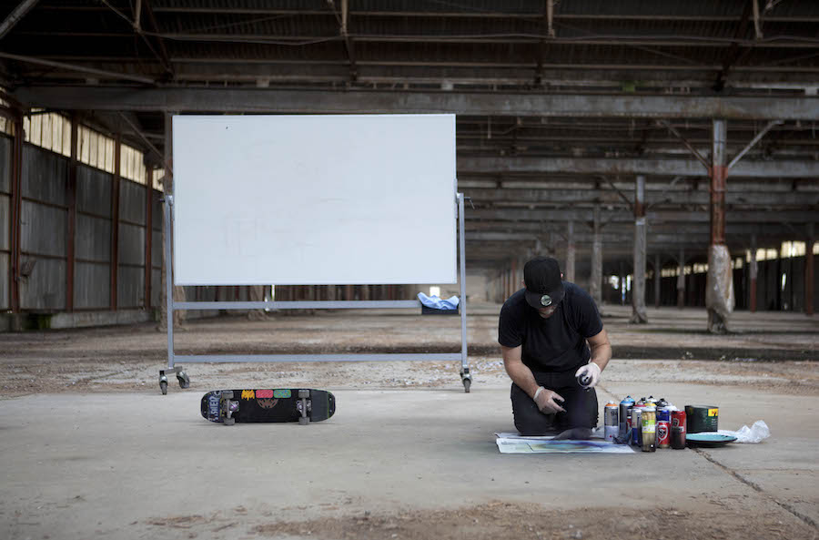 Shaun Gladwell,   Erased Notation for Planets ,  Stars and Freestyle Skateboard,  2011,   Commissoned by AIR ANTWERPEN,   videography: Ilke De Vries,   photography: Wouter Van der Hallen