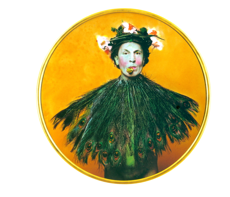 Luigi Ontani VanITA 1997 Photograph hand-painted by the artist on paper diametro 126 cm (with frame) Collection of the artist, Roma