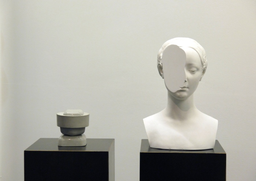 T-yong Chung,   Traccia 8,   modified plaster bust of Beatrice Aragona + concrete sculpture,   2014. Courtesy Otto Zoo