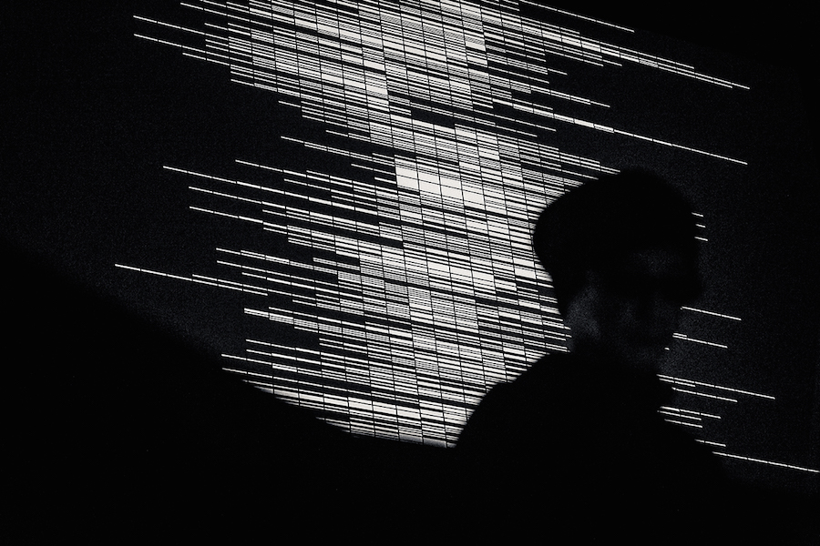 Supercodex [live set],   2013 photo by Ryo Mitamura concept,   composition: Ryoji Ikeda computer graphics,   programming: Tomonaga Tokuyama