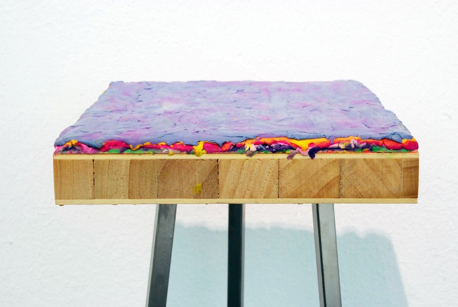 Maria Morganti,   Stratificazione 2011 #1,   Venezia,   2011,   plasticine on wooden board,   cm 22x18x2,  5,   detail; courtesy OttoZoo