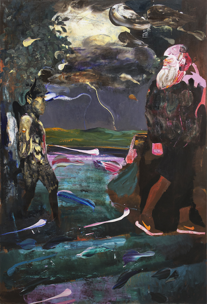 Adrian Ghenie,   Darwin and the Satyr,   2014,   Oil on canvas,   220 x 148 cm,   Courtesy of the Artist