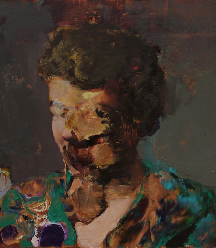 Adrian Ghenie,   Pie Fight Study,   2012,   Oil on canvas,   42 x 38 cm,   Collection of Rodica Seward,   Paris and New York