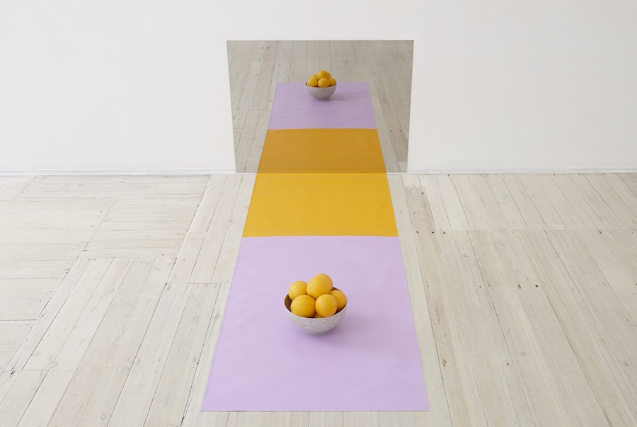 Anna Kristensen,   Figure Ground dimensions variable,   mirror polished stainless steel,   acrylic on linen,   bowl,   oranges © Viasaterna