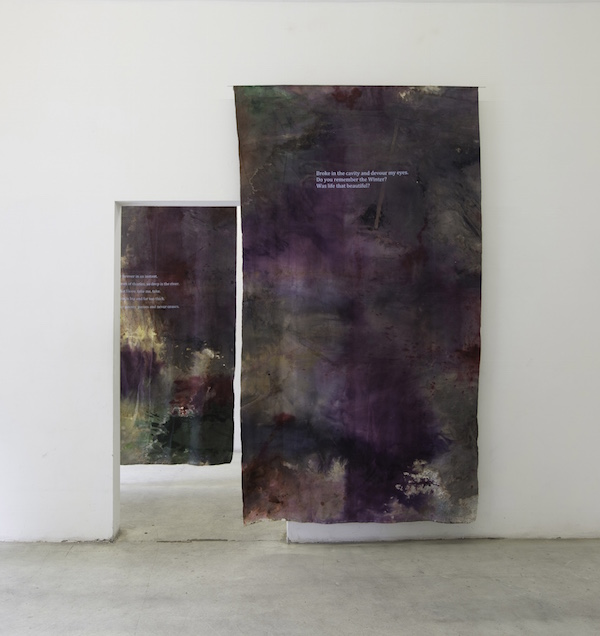 Hugo Canoilas Spirit of the air,   2013  8 stanzas of a poem painted on suspended canvas. 280 x 150 cm each Acrylic and aniline on raw linen.  Courtesy of the artist and Collicaligreggi Gallery,   Catania,   IT