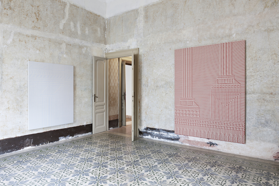 Installation view,   Indipendenza,   Roma,   2015 — Tauba Auerbach -  Courtesy of the artist and STANDARD (OSLO),   Oslo,   Charlotte Posenenske - Courtesy Estate of Charlotte Posenenske and Mehdi Chouakri,   Berlin,   Photographer Vegard Kleven