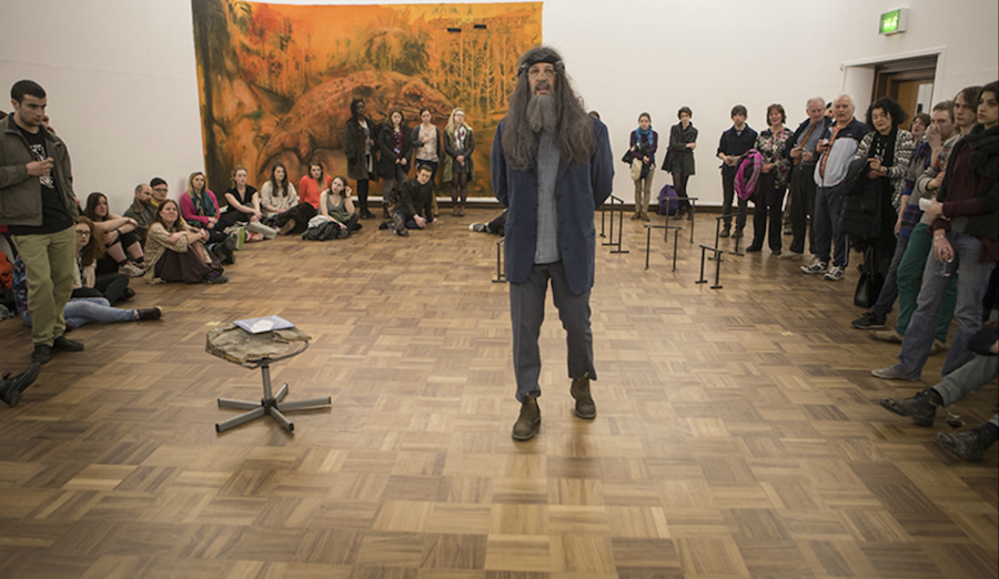 Hugo Canoilas Jeffrey goes to Dundee,   (2015)  Performance photo. Performance during the Preview of the exhibition Someone a long time ago,   now.,  Hugo Canoilas,   2015,   Cooper Gallery DJCAD.  Photo: Ross Fraser McLean.
