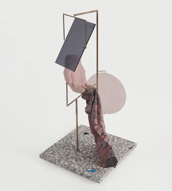 David Casini ''Geometrie per un canone rovesciato 2''  2015 Brass,   porcelain,   plexiglass,   printing on metallic paper,   polished concrete h51 x 25 x 25 cm Courtesy CAR drde,   Bologna