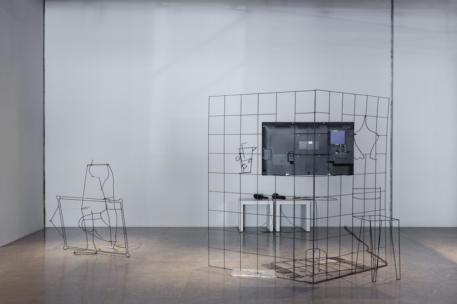 Data for desire : Rationalised room, small apartment and coffee (2015) 160X160X120cm  Rebar, steel, resin, cigarettes butt, LCD screen, Installation shots by Bruno Lopes courtesy of the artists/galleries and Museu Nacional de Arte Contemporânea - Museu do Chiado