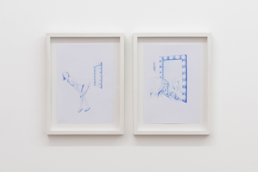 Beatrice Marchi Signorina Culinski cresce,   2015 Diptych,   pencil on paper 21 x 29 cm each,   - Basic Instinct - Installation view ,   courtesy Seventeen Gallery London,   2015