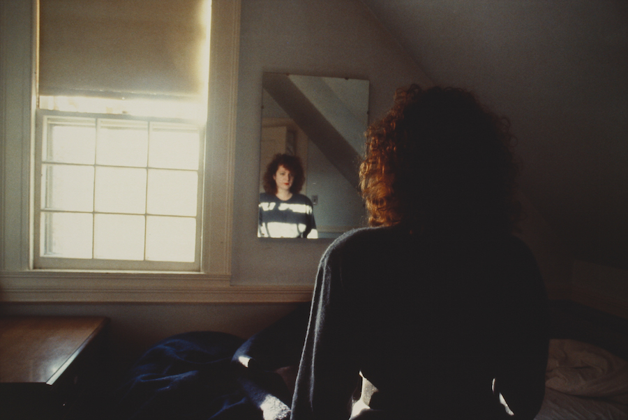 Nan Goldin,   Self-Portrait in the Mirror,   The Lodge,   Belmont,   MA,   1988 Cibachrome 69,  5 x 101,  5 cm Fondazione MUSEION. Museo di arte moderna e contemporanea Bolzano. Collezione / Collection Enea Righi  Photo © Antonio Maniscalco