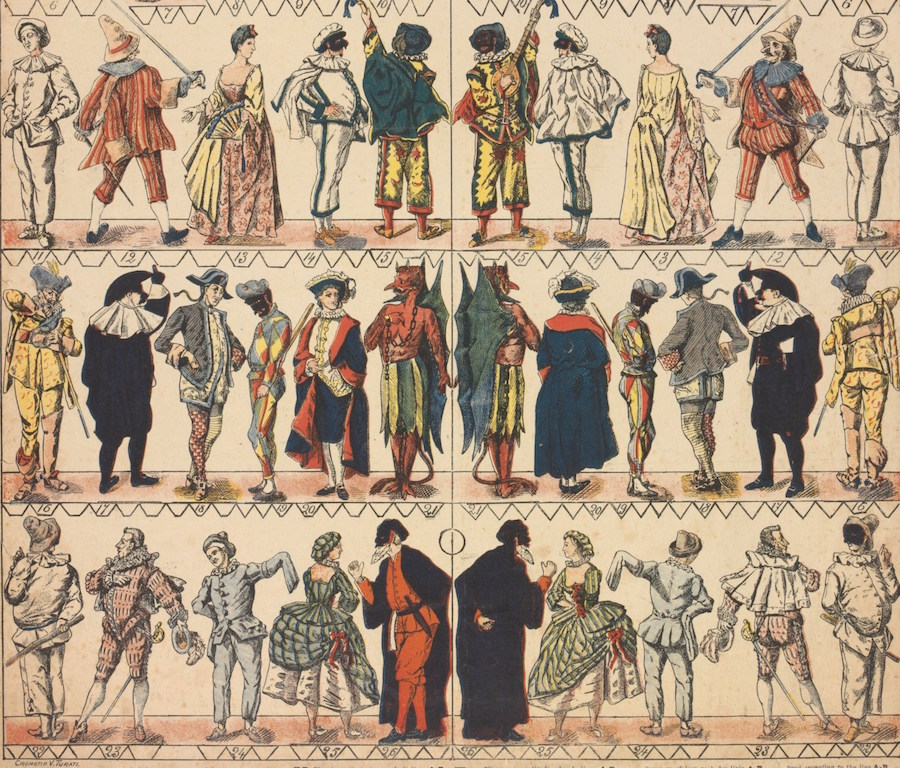 Maschere e personaggi della Commedia dell'Arte,  Particolare,   chromolitograph,   19th century © Victoria and Albert Museum,   London