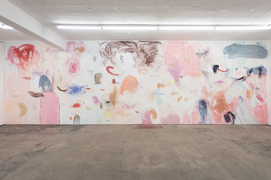 Megan Rooney Doggy breath, finger deaf, mute, winking. A wink she could only do with the right eye, 2015 Mural on gallery wall - Basic Instinct - Installation view , courtesy Seventeen Gallery London, 2015