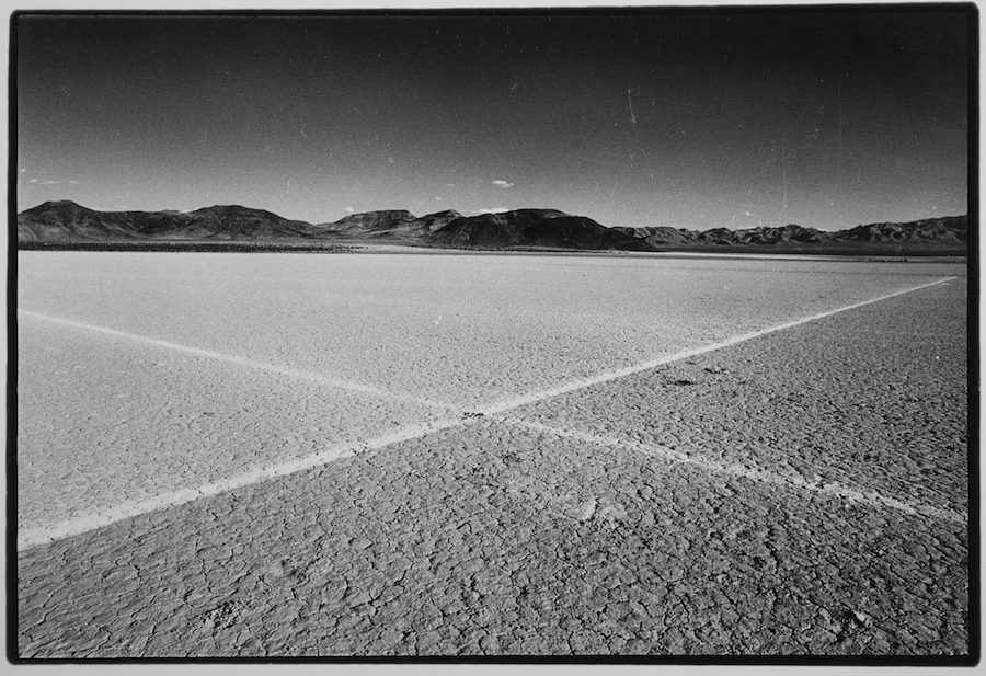 Walter De Maria,   Desert Cross. El Mirage Dry Lake,   1969. From Troublemakers. Photograph © Gianfranco Gorgoni. Courtesy Getty Research Institute,   Los Angeles (2008.R.6).