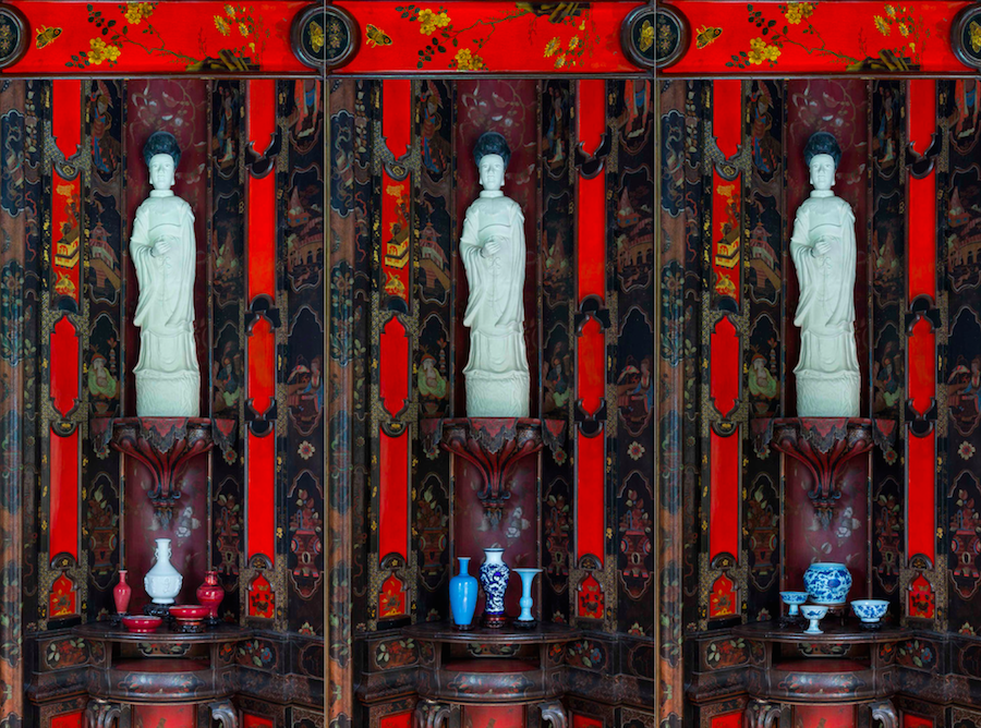 Maurizio Vetrugno,   Opium Den,   tapestries,   detail,   2015 Digitally elaborated images of Villa della Regina's Chinese rooms Printed on fabric (detail)