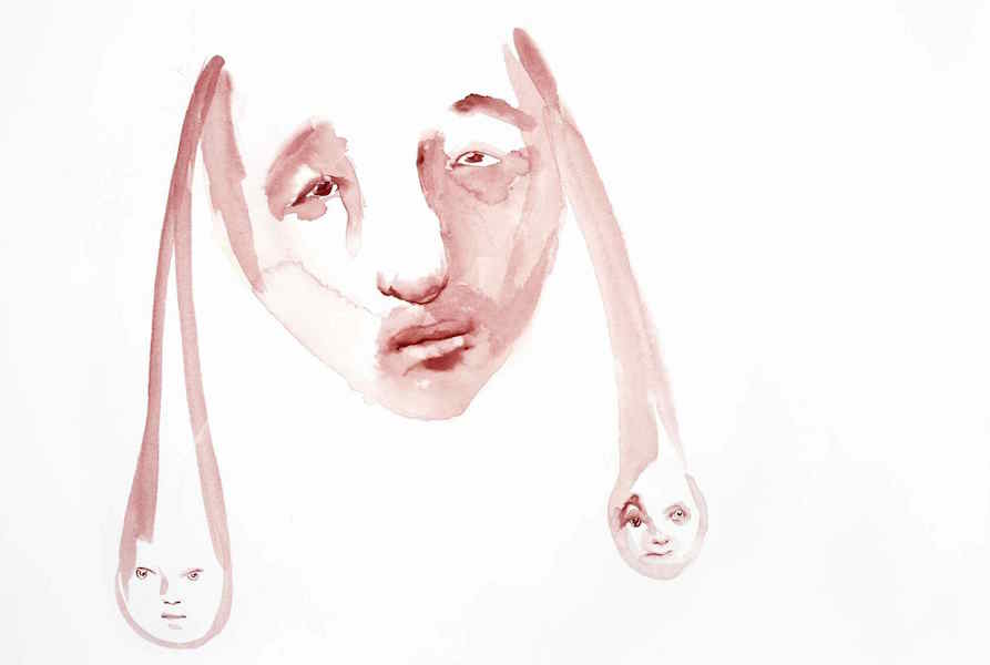 Paloma Varga Weisz,   Gesicht mit Geistern (Faccia con fantasmi) (Face with Ghosts),   2007 Acquarello su carta / Watercolor on paper 36 x 51 cm Collezione privata / Private collection Foto / Photo: S. Hostettler,   VG-Bild-Kunst,   Bonn Copyright the Artist; courtesy Sadie Coles HQ,   London; Gladstone Gallery,   New York; Konrad Fischer Galerie,   Düsseldorf