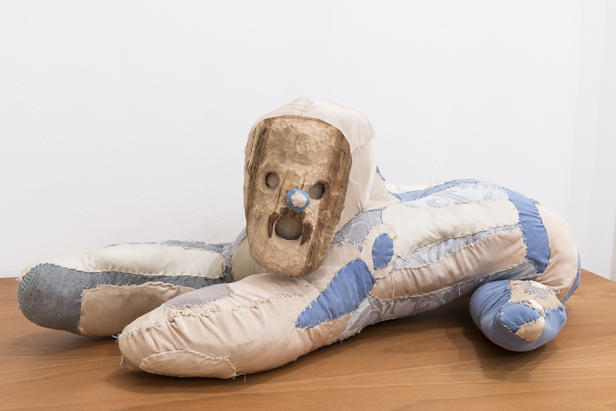Evgeny Antufiev,   Untitled,   2015,   fabric and wooden sculpture,   cm 32x96x50,   Courtesy z2o Sara Zanin Gallery,   Rome Ph. Sebastiano Luciano