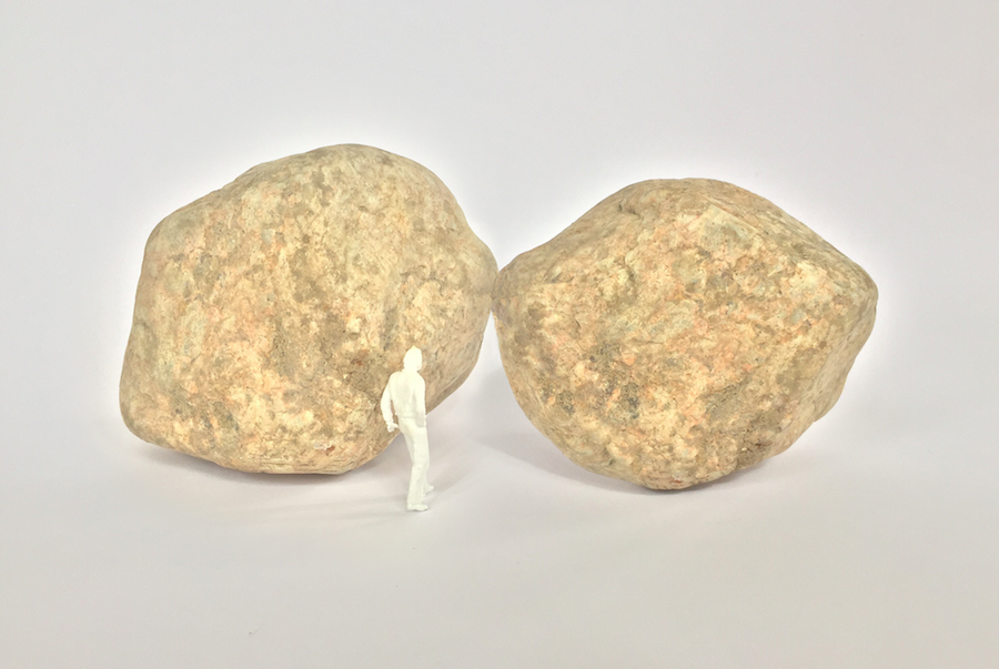 Wilfredo Prieto,   Kiss Model Project,   2015 stones,   scale model Dimensions variable - Image courtesy of the artist