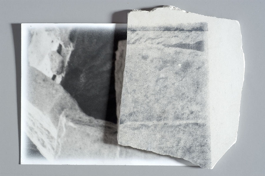 Franco Guerzoni,   Archeologia [Archeology],   1973. Retouched photograph and silkscreen on plaster,   70 x 50 cm (Private collection,   Bologna)