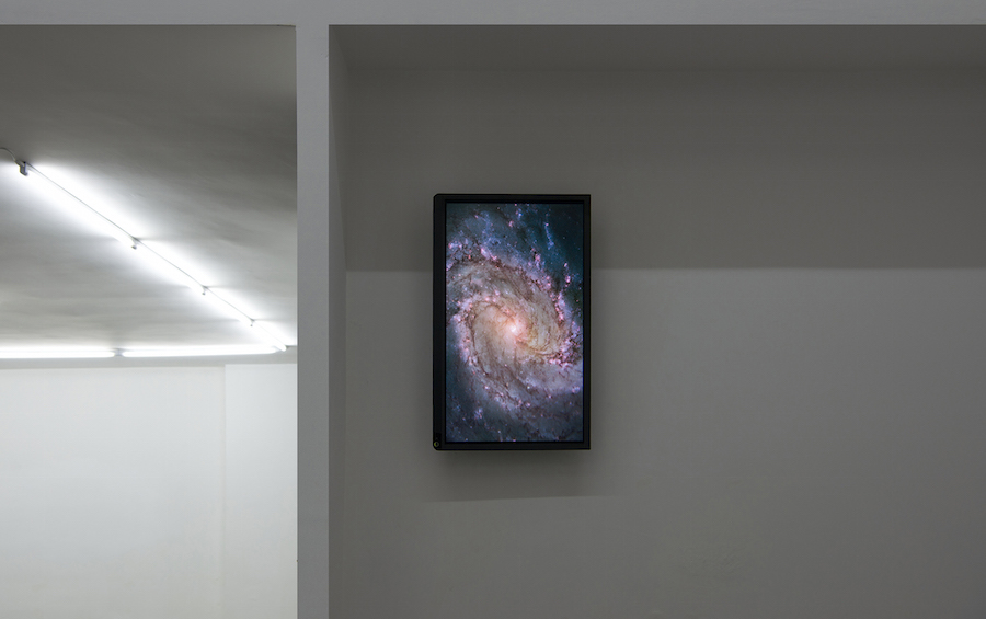 "Untitled(Galaxy),   2015,   still image on 42"" monitor,   size variable,   courtesy The Gallery Apart Rome,   photo by Giorgio Benni"