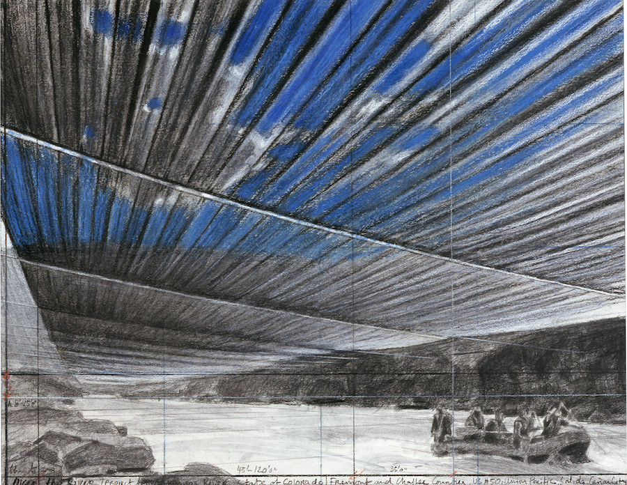Christo Over the River,   Project for Arkansas River,   State of Colorado Drawing,   2008: 55,  9 x 71,  1 cm (22 x 28'') Pencil,   charcoal,   pastel,   wax crayon and wash Disegno del 2008: 55,  9 x 71,  1 cm (22 x 28'') Matita,   gesso,   pastello,   pastello a cera e acquerello. Photo: André Grossmann (c) Christo Ref #20