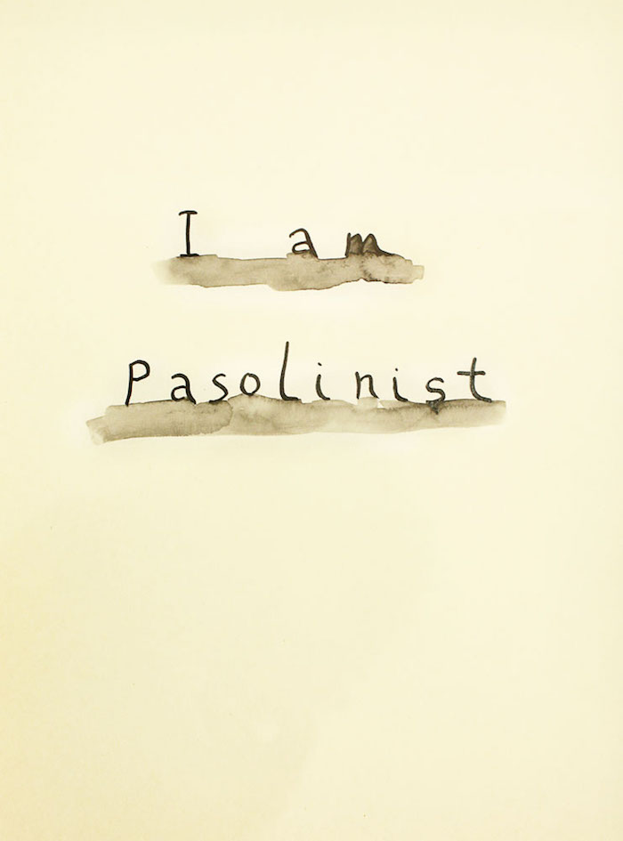 Babi Badalov,   I am Pasolinist,   2015,   ink on paper,   cm 30x21,   Courtesy Laura Bulian Gallery